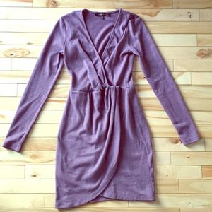 Purple knot wrap dress with V front
